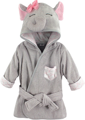 Hudson Baby Girls' Bath Robes Pretty - Pretty Elephant Hooded Fleece Robe - Newborn