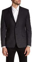 Versace Black Ombre Double Button Notch Lapel Wool Trim Fit Jacket