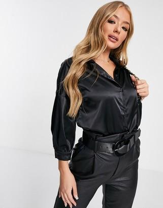 NA-KD puff sleeve satin blouse in black