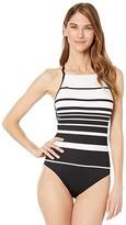 Lauren Ralph Lauren Gradient Stripe Shaping High Neck Mio One-Piece (Black/White) Women's Swimsuits One Piece