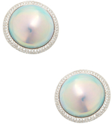18K White Gold, Mabe Pearl & 0.58 Total Ct. Diamond Stud Earrings