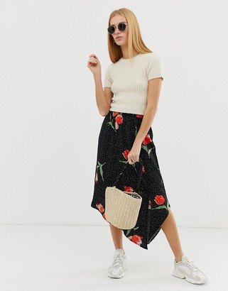 B.young printed faux wrap skirt