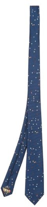 Paul Smith Spot-jacquard Silk Tie - Navy