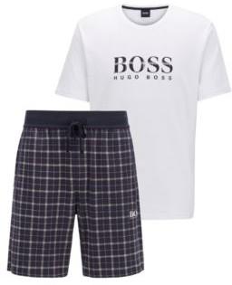 BOSS Cotton pyjama set with checked shorts