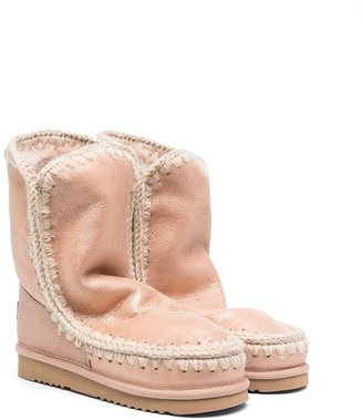 Mou Kids TEEN flatform-sole shearling-lined boots