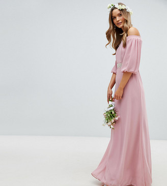 TFNC Bardot Maxi Bridesmaid Dress with Sleeve Drama and Embellished Waist-Pink