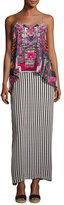 Camilla Low-Back Layered Maxi Dress, Straight & Narrow