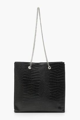 boohoo Premium Croc PU & Metal Bead Tote Bag