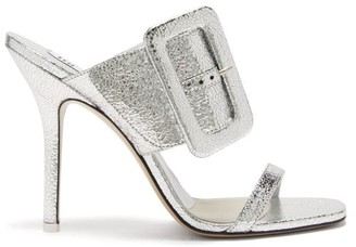 ATTICO Ester Crackled Metallic-leather Mules - Silver