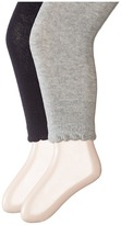 Jefferies Socks Scalloped Pima Cotton Footless Tights 2-Pair Pack Hose