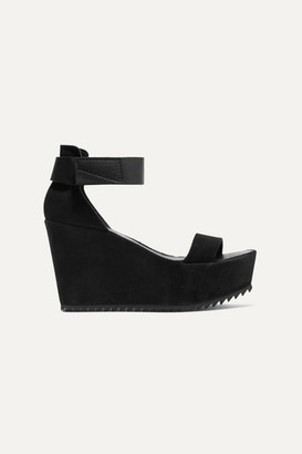 Pedro Garcia Fania Suede And Textured-leather Wedge Sandals - Black