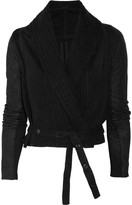 Rick Owens Cropped leather and cotton jacket
