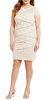 London Times Plus Lace Shutter Sheath Dress