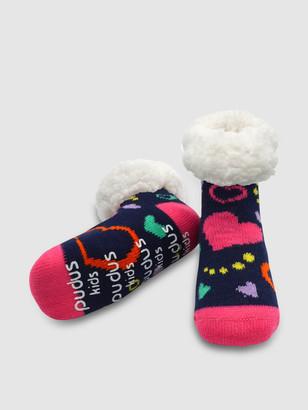 Pudus Kids Classic Slipper Socks | Heart Navy