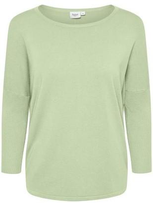 Saint Tropez Knit Sweater With Ribbed Sleeves Aqua Foam - M / Aqua Foam