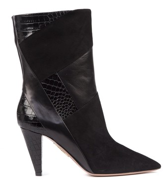 Aquazzura Paneled Black Leather Boots