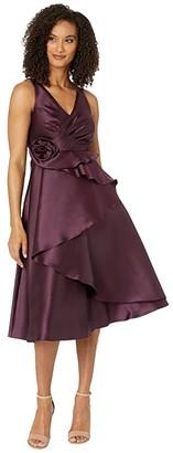 Adrianna Papell Mikado Rosette Cocktail Dress (Pinot Noir) Women's Dress