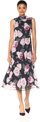 Taylor Dresses Women's Frosted Rose Long and Full Dress with Tie Back at Neck