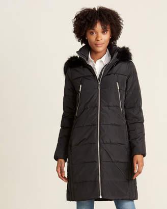 MICHAEL Michael Kors Faux Fur Hood Down Long Puffer Jacket