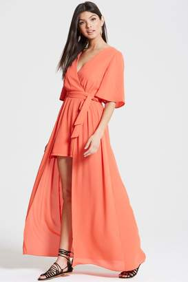 Girls On Film Coral Maxi Overlay Playsuit