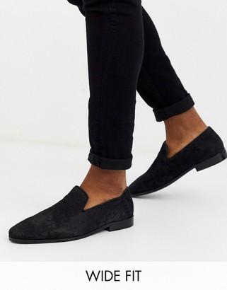 Dune wide fit brocade loafer in black