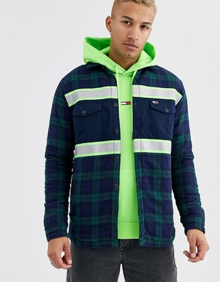 Tommy Jeans reflective stripe check overshirt in navy