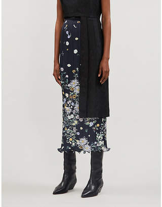 Givenchy Show floral-pattern satin-crepe midi skirt