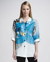 Caroline Rose Tropical Orchid Ramie Shirt, Women's
