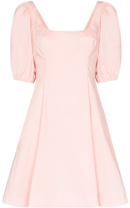 STAUD Puff-Sleeve Mini Dress