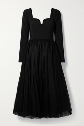 Carolina Herrera Crepe And Tulle Midi Dress - Black