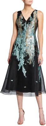 Rickie Freeman For Teri Jon V-Neck Sleeveless Metallic Jacquard Dress