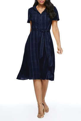 London Times Tonal Stripe Belted Shirt Dress (Petite)