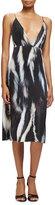 Calvin Klein Plunging Fur-Print Silk Slip Dress, Black/White