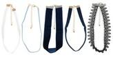 Charlotte Women's Necklace Five Piece Fabric Choker Set - Blue