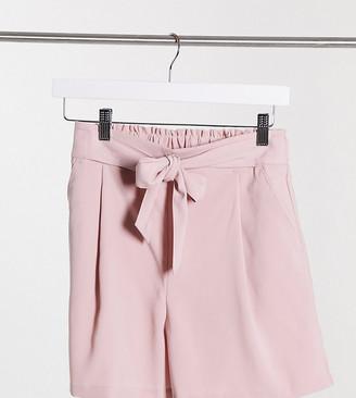 New Look Petite tie waist shorts in pink
