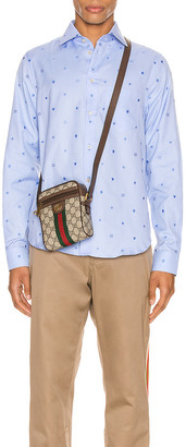Gucci Symbols Fil Coupe Cotton Shirt in Sky Blue | FWRD
