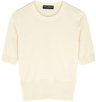 Dolce & Gabbana Ivory Knitted Silk Top