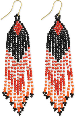 Zad ZAD Women's Earrings red - Red Southwest Passage Beaded Fringe Drop Earrings