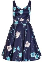 Quiz Navy And Aqua Satin Flower Print Dress