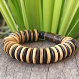 Handcrafted Thai Coconut Shell and Wood Beaded Bracelet, 'Pure Nature'