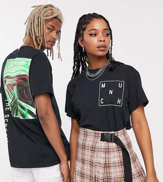 Reclaimed Vintage Unisex neon scream print t-shirt-Black