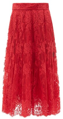 Dolce & Gabbana Floral Cotton-blend Lace Midi Skirt - Red