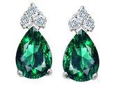 Tommaso design Studio Tommaso Design Pear Shape 8x6mm Simulated Emerald and Diamond Earrings 14k