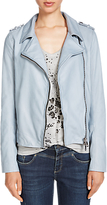 Oui Leather Biker Jacket, Ashley Blue