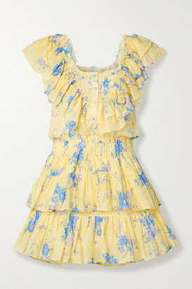 LoveShackFancy Fatima Ruffled Floral-print Cotton And Silk-blend Mini Dress - Pastel yellow