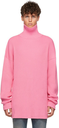 Balenciaga Pink Ribbed Turtleneck