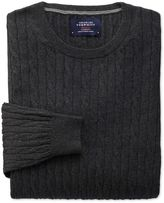 Charles Tyrwhitt Charcoal Cotton Cashmere Cable Crew Neck Cotton/cashmere Sweater Size Large