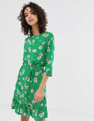 Only Tina floral print frill dress-Green
