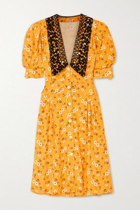 Miu Miu Lace-trimmed Floral-print Crepe Midi Dress - Yellow