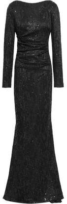 Talbot Runhof Sequined Jacquard-knit Gown